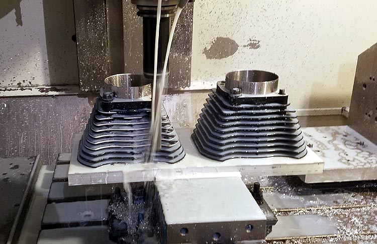 CNC machining fin edges on HAMMER 1275 kit cylinders for Harley Davidson Sportsters and Buells